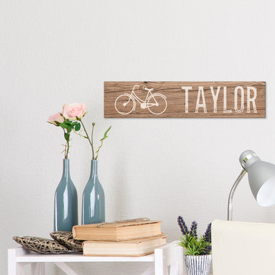 Rustic Bicycle Printed Name Wood Sign