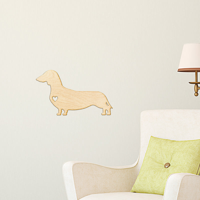 Heart Cut Dachshund Wood Sign
