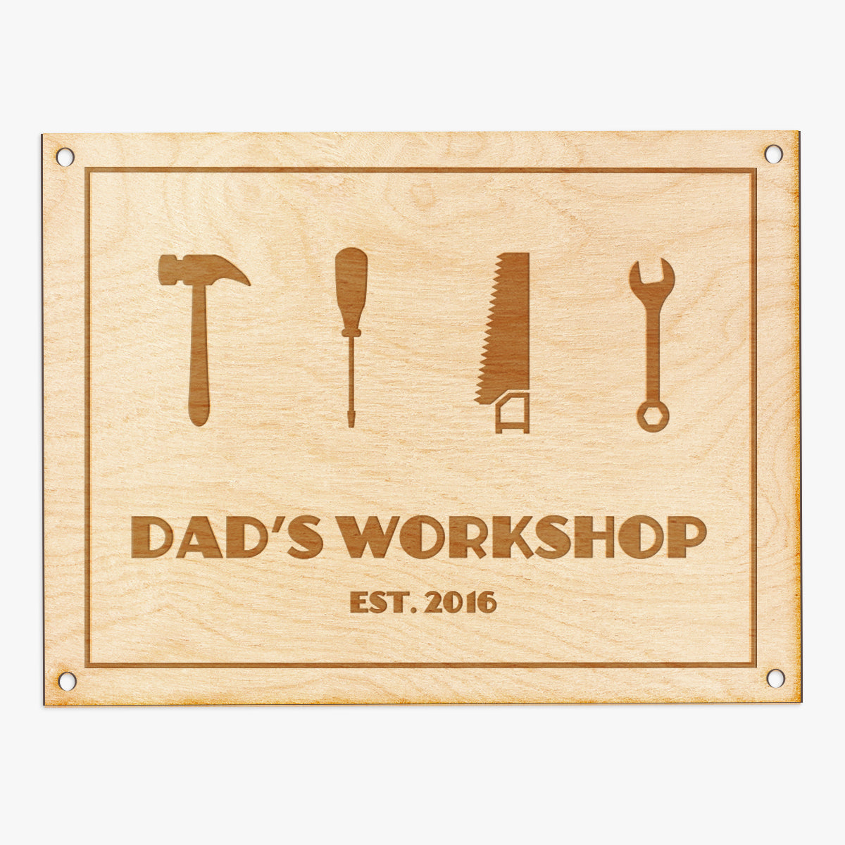 Dad's Workshop Engraved Wood Sign