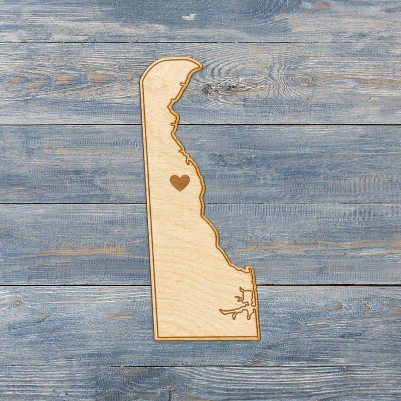 Delaware Cut Sign With Custom Engraved Heart Placement