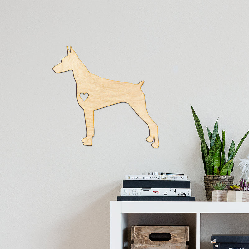 Heart Cut Doberman Wood Sign