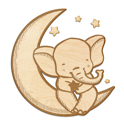 Elephant Stars and Moon Engraved Wood Sign
