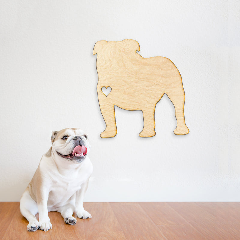 Heart Cut English Bulldog Wood Sign