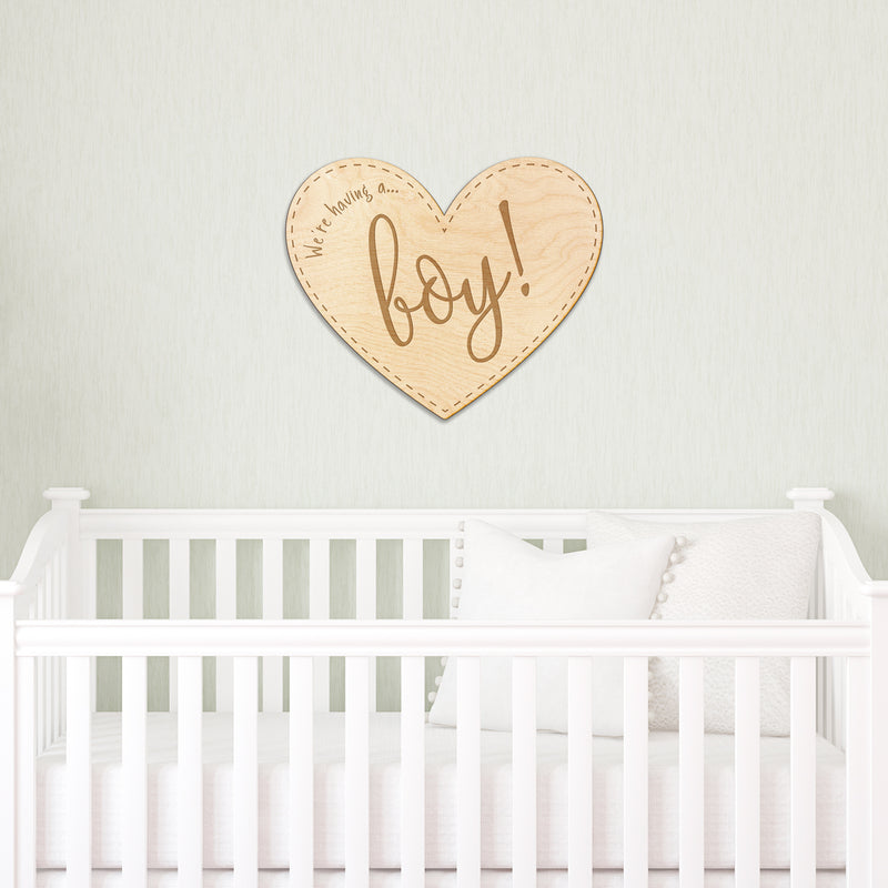 Baby Boy Announcement Heart Engraved Wood Sign