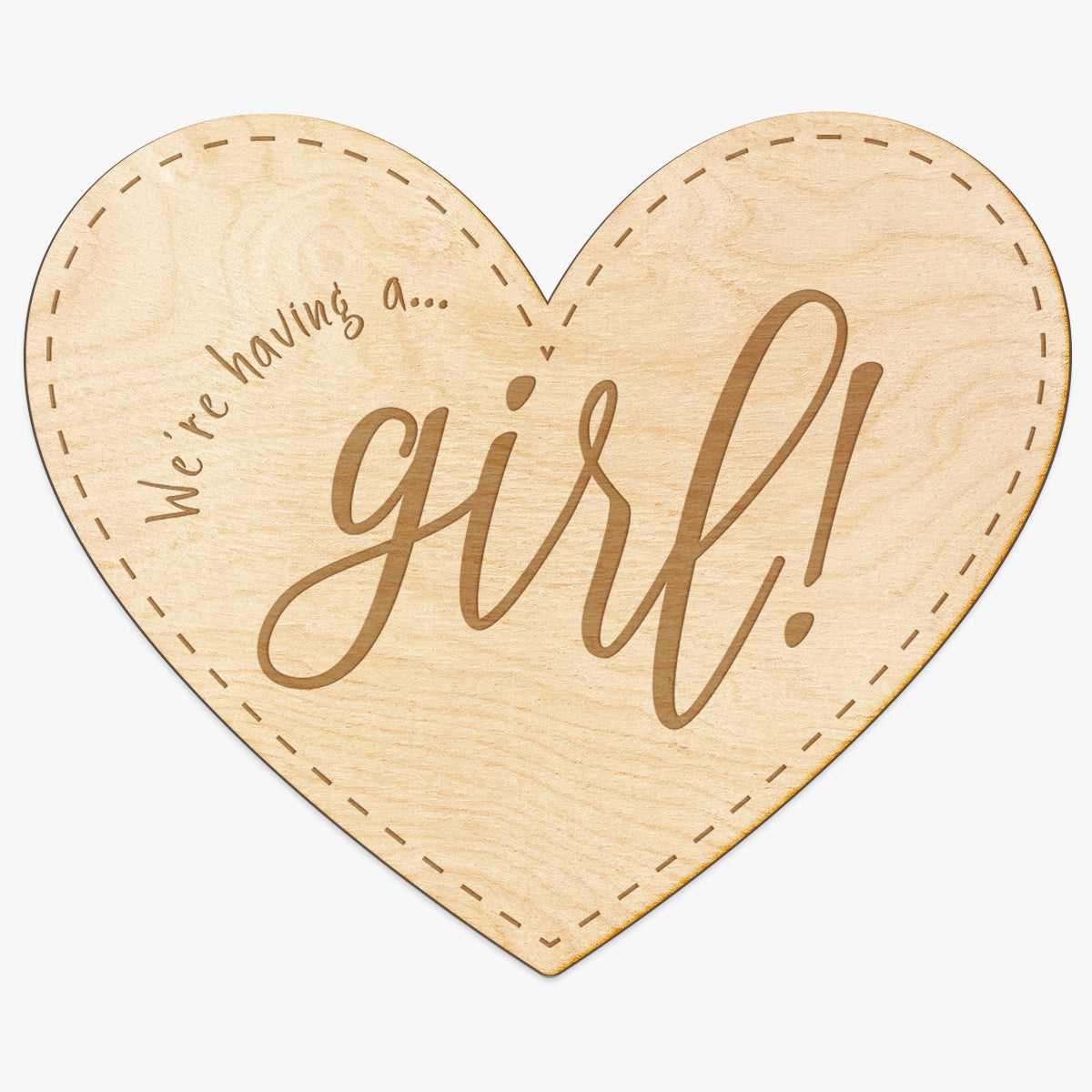 Baby Girl Announcement Heart Engraved Wood Sign