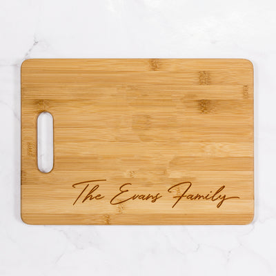 "Evans - Personalized Bamboo Cutting Board with Handle 13.75"" x 9.75"""