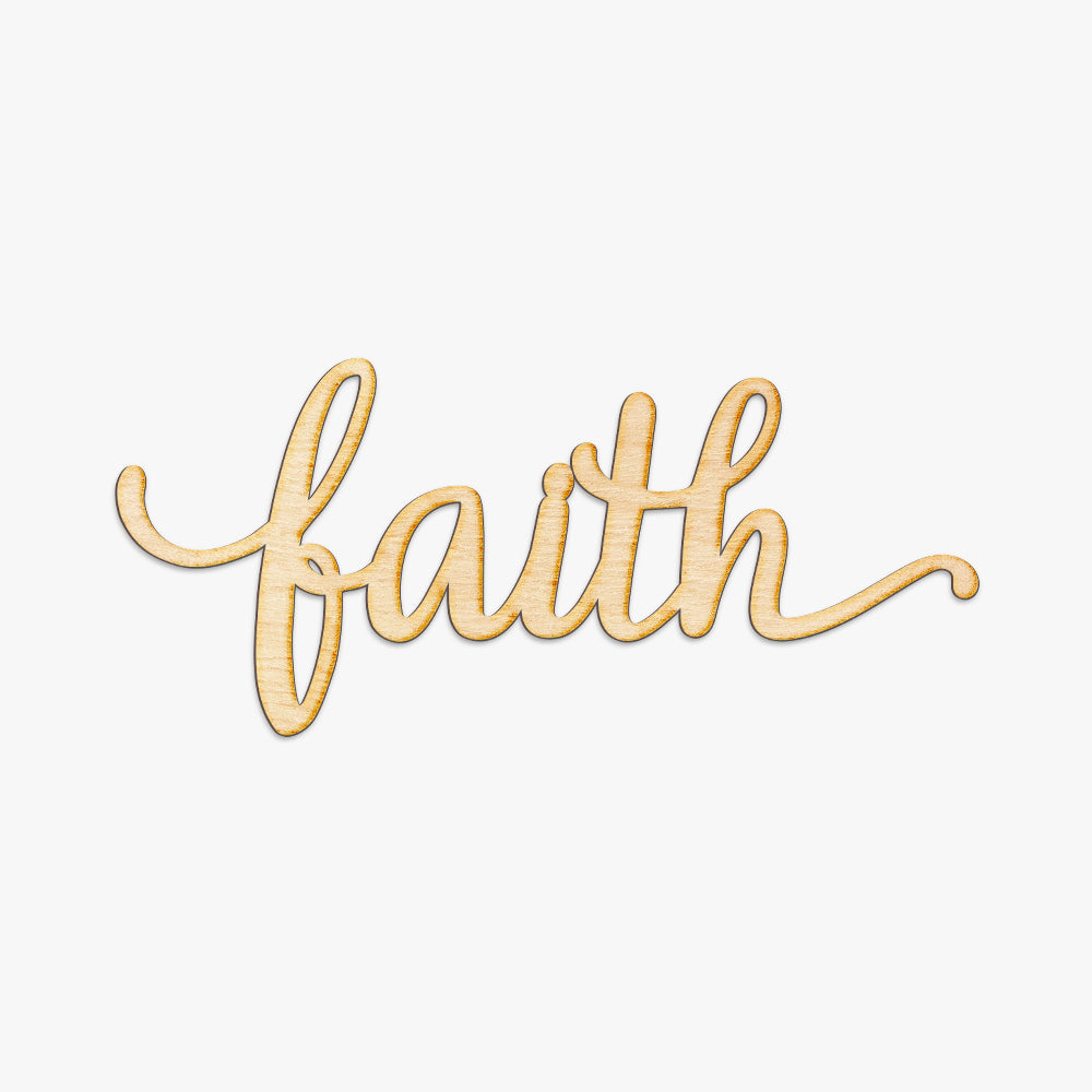 Faith Script Wood Cut Sign