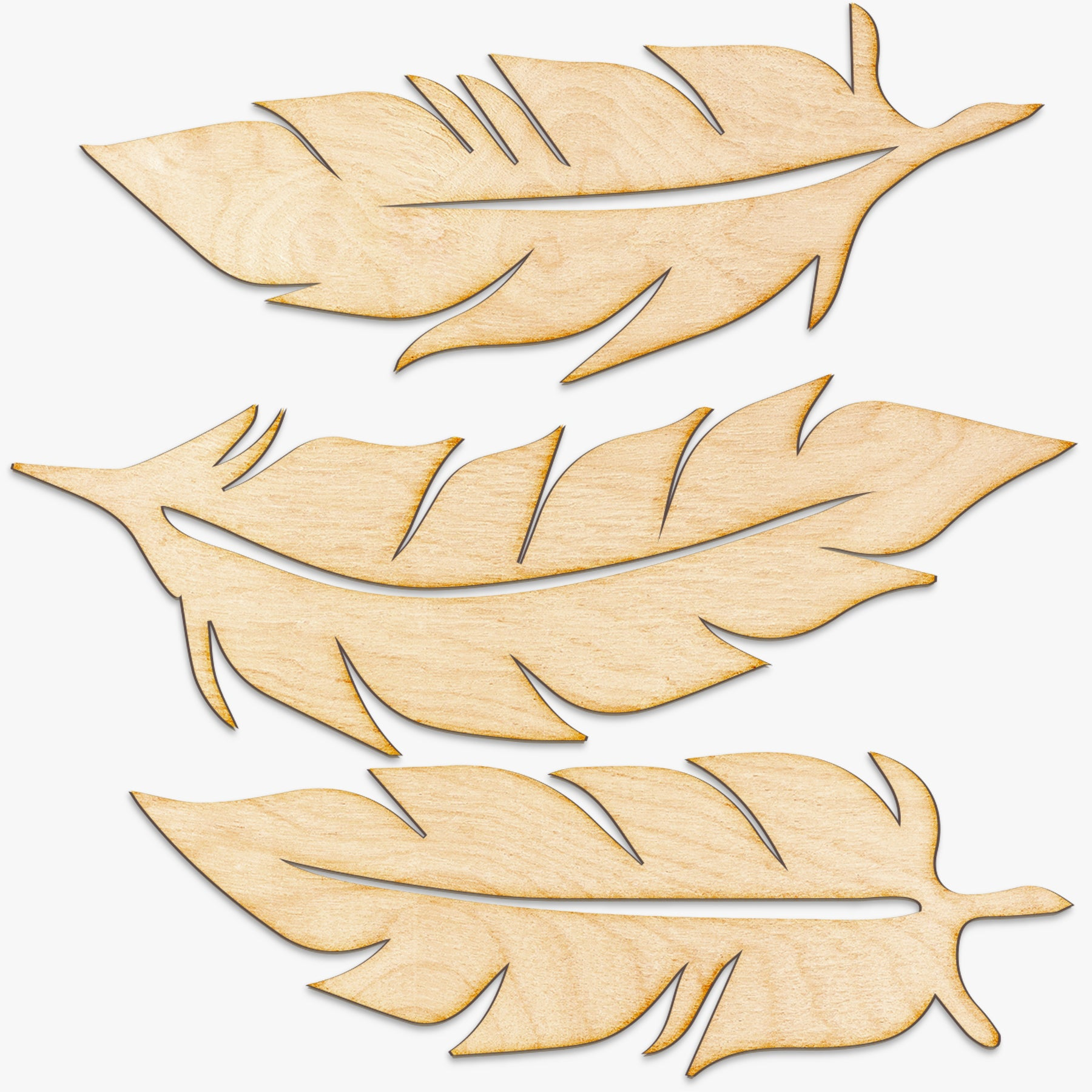 Wood Feathers Set