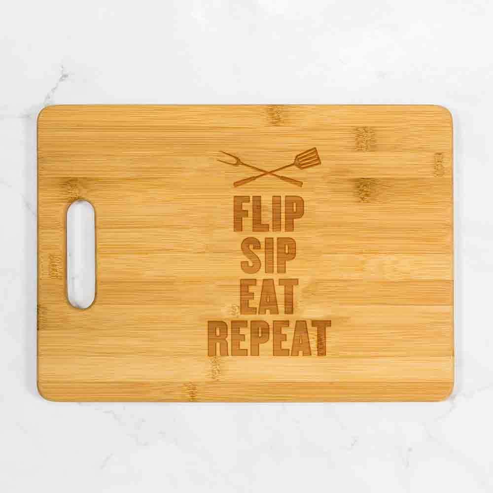 "Flip Sip Eat Repeat Bamboo Cutting Board with Handle 13.75"" x 9.75"""