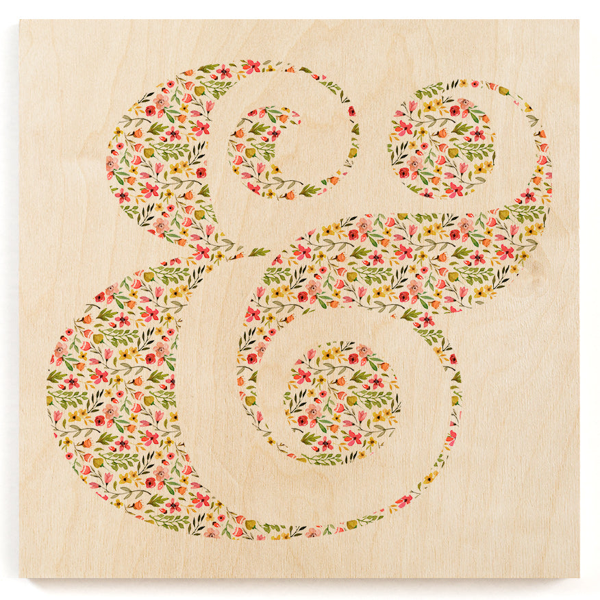 Floral Ampersand Wood Print