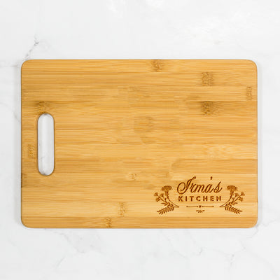 "Floral Personalized Kitchen Bamboo Cutting Board with Handle 13.75"" x 9.75"""