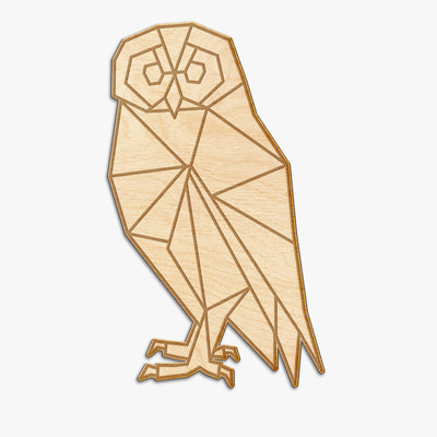 Geometric Owl Wood Engraving