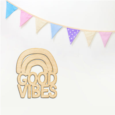 Good Vibes Rainbow Cut Wood Sign