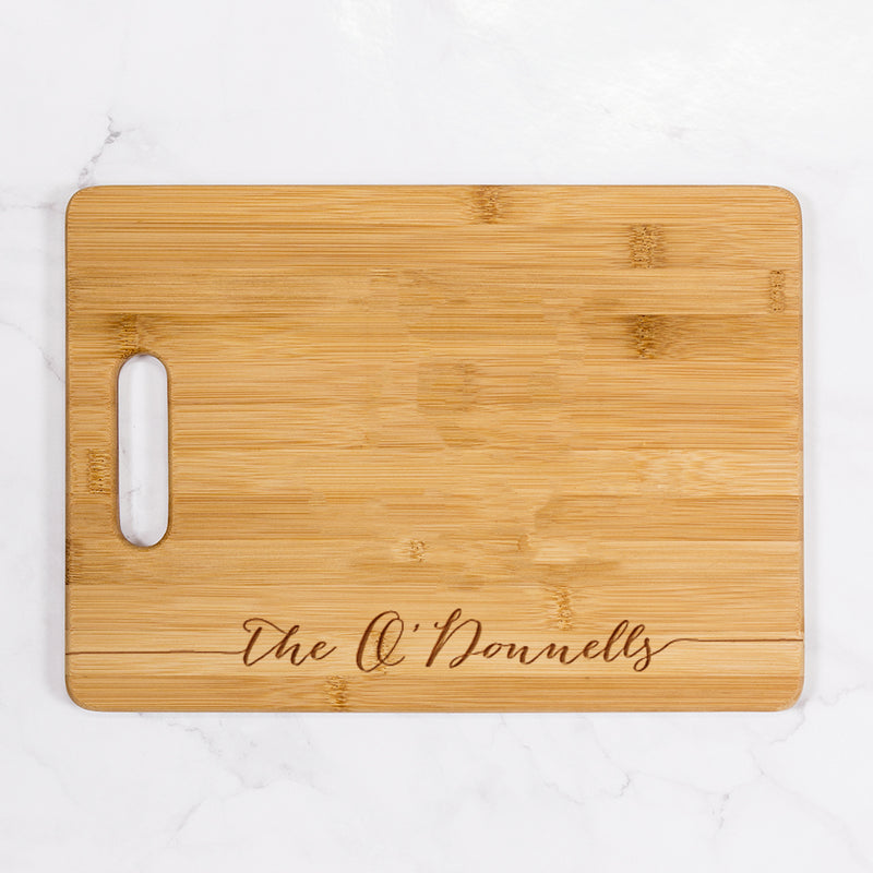 "Grahams - Personalized Bamboo Cutting Board with Handle 13.75"" x 9.75"""