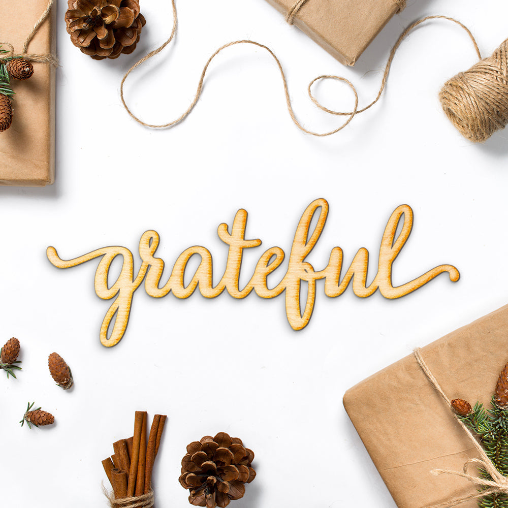 Grateful Script Word Wood Sign