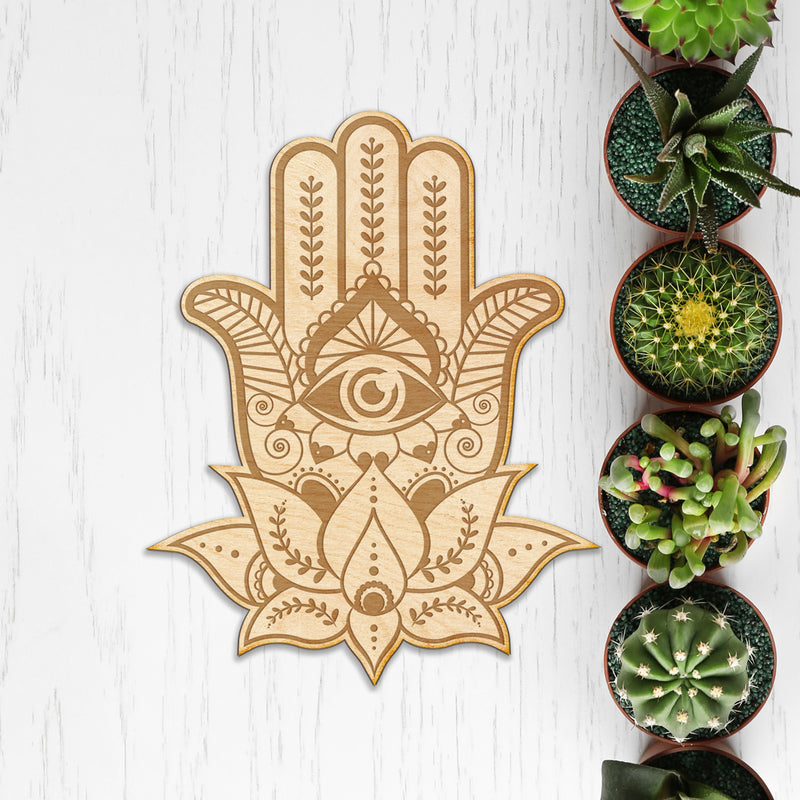 Hamsa Hand Engraved Wood Sign