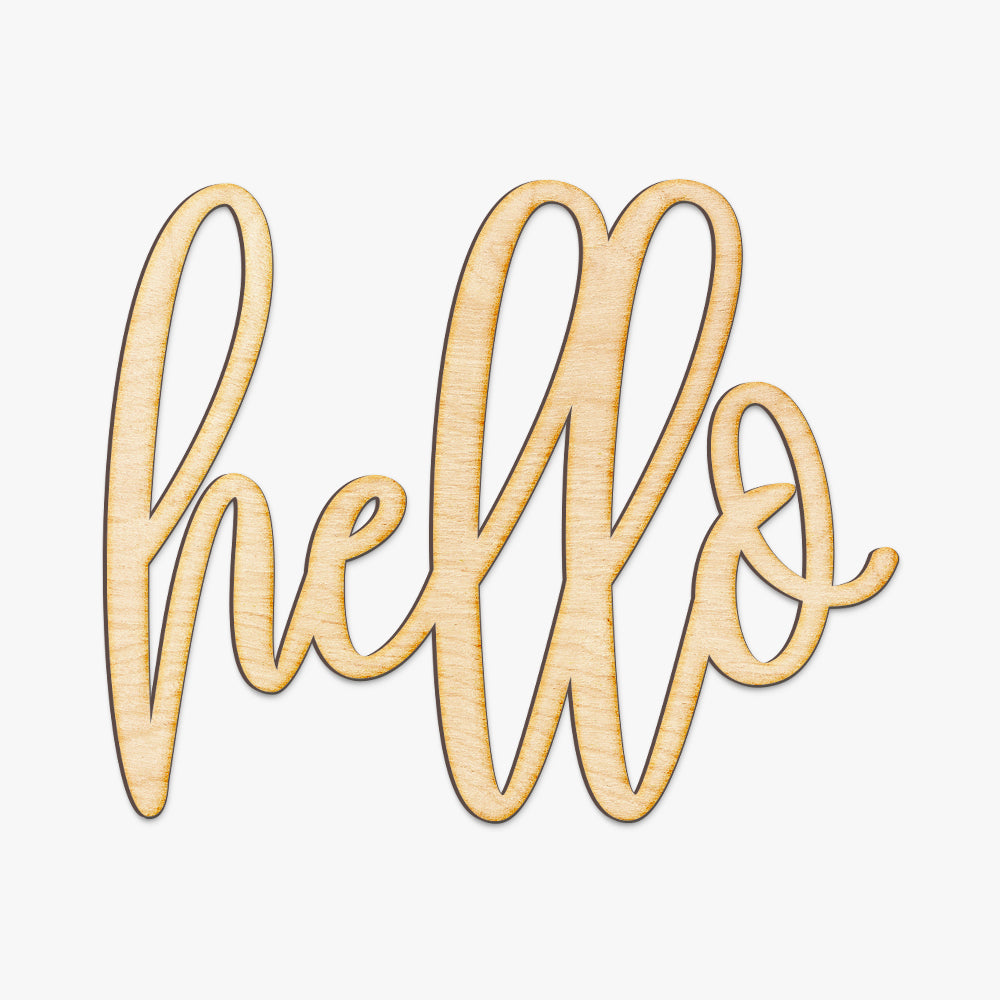 Hand Drawn Hello Wood Sign