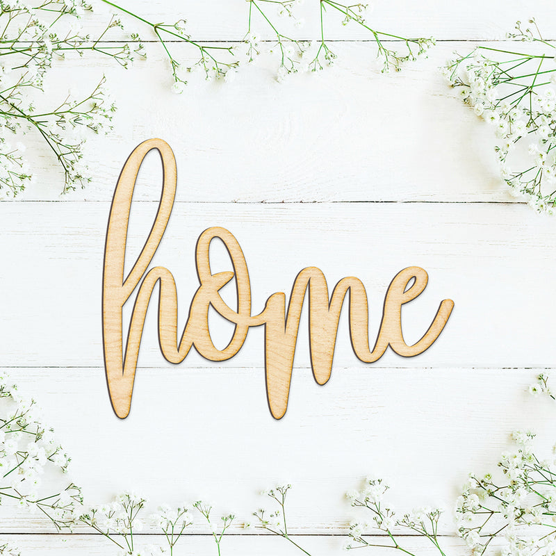 Hand Drawn Home Wood Sign