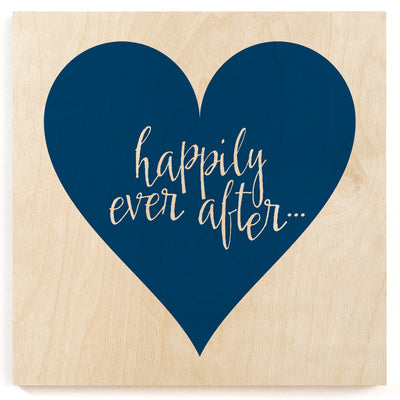 Happily Ever After Heart Wood Print