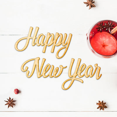 Happy New Year Brush Script Wood Sign