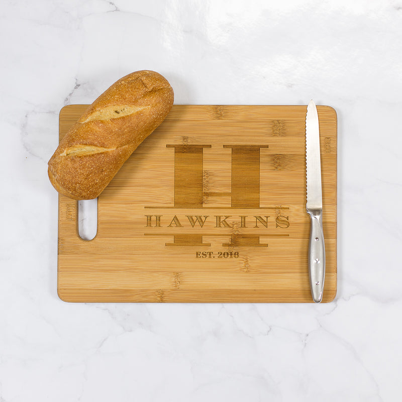 "Hawkins - Personalized Bamboo Cutting Board with Handle 13.75"" x 9.75"""