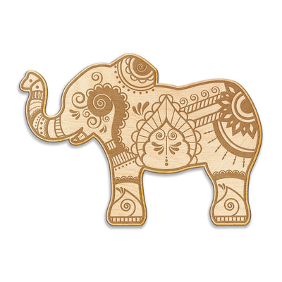 Henna Elephant Engraved Wood Sign