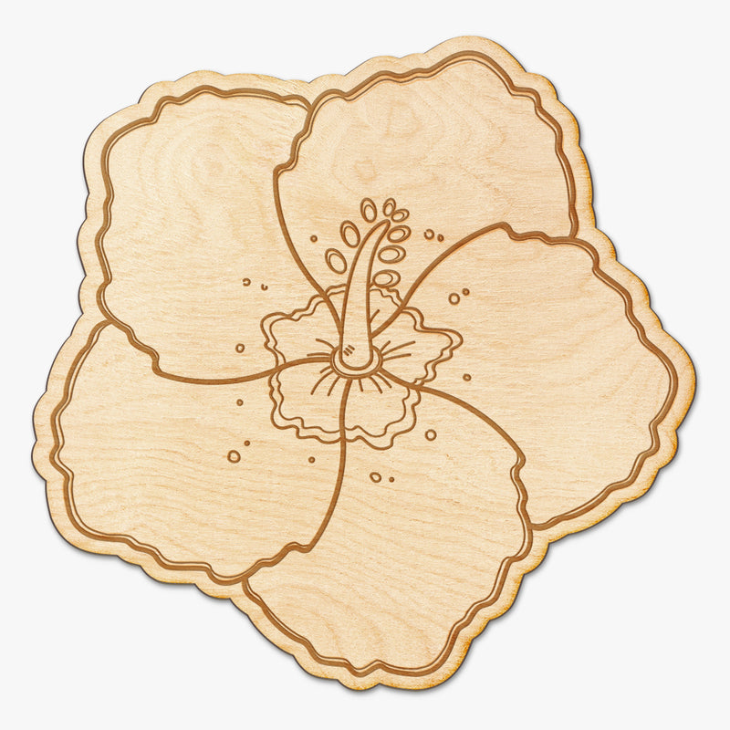 Hibiscus Wood Engraved Sign
