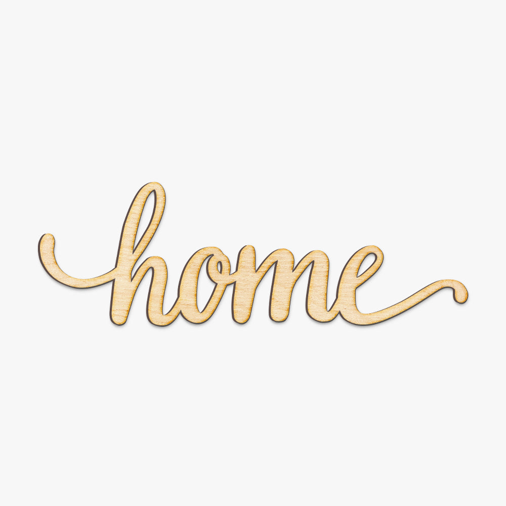 Home Script Wood Cut Sign
