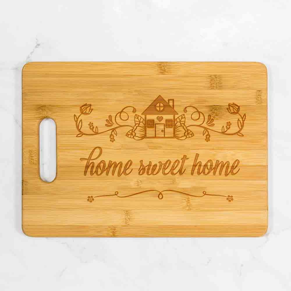 "Home Sweet Home Bamboo Cutting Board with Handle 13.75"" x 9.75"""
