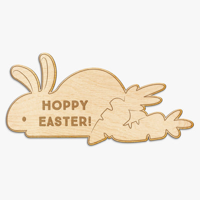 Hoppy Easter Bunny Engraved Wood Sign