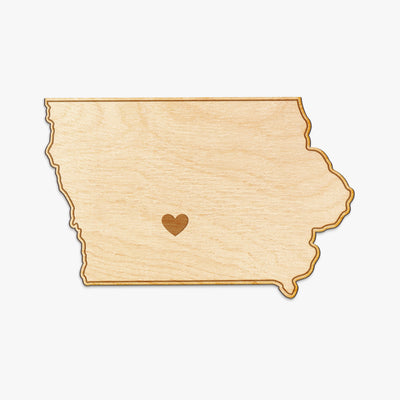 Iowa Cut Sign With Custom Engraved Heart Placement