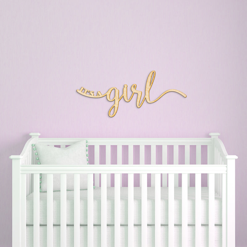 It's a Girl Script Wood Sign
