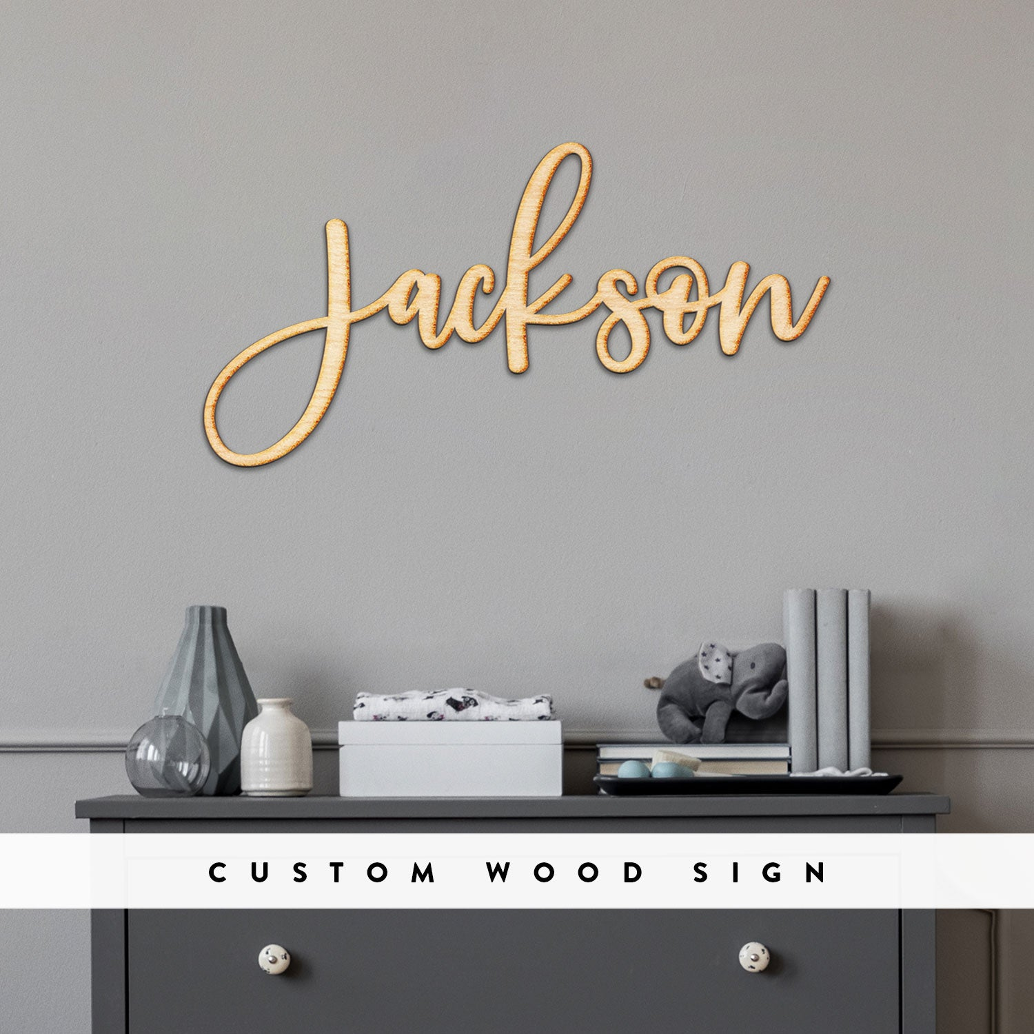 Custom Jules Script Word Wood Sign