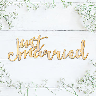 Just Married Wood Cut Sign