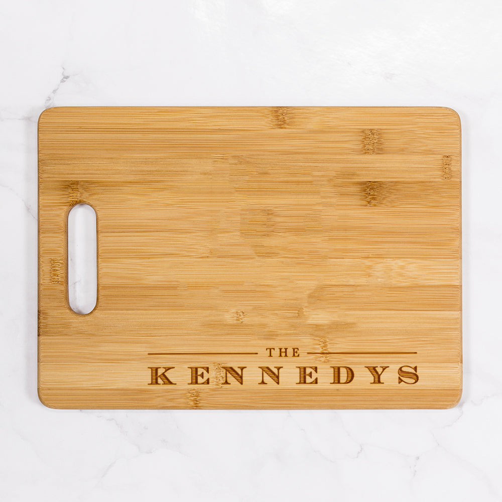 "Kennedy - Personalized Bamboo Cutting Board with Handle 13.75"" x 9.75"""
