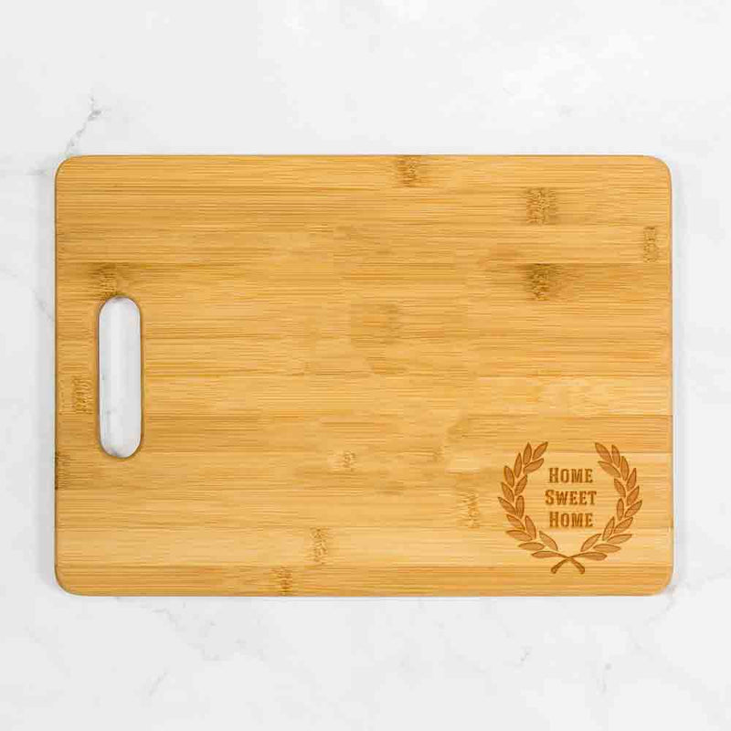 "Laurel Wreath Bamboo Cutting Board with Handle 13.75"" x 9.75"""