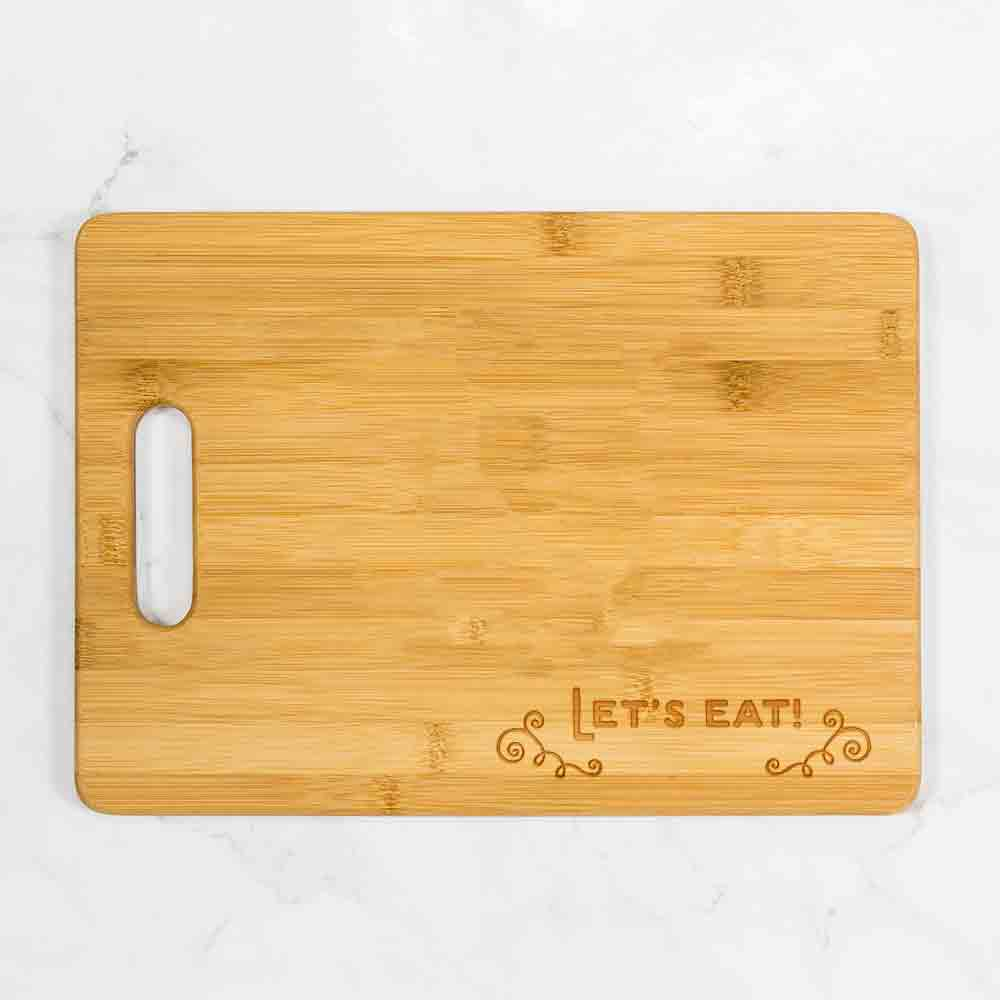 "Let's Eat Bamboo Cutting Board with Handle 13.75"" x 9.75"""