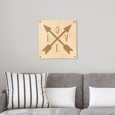 Love Arrow Engraved Wood Sign
