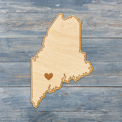 Maine Cut Sign With Custom Engraved Heart Placement