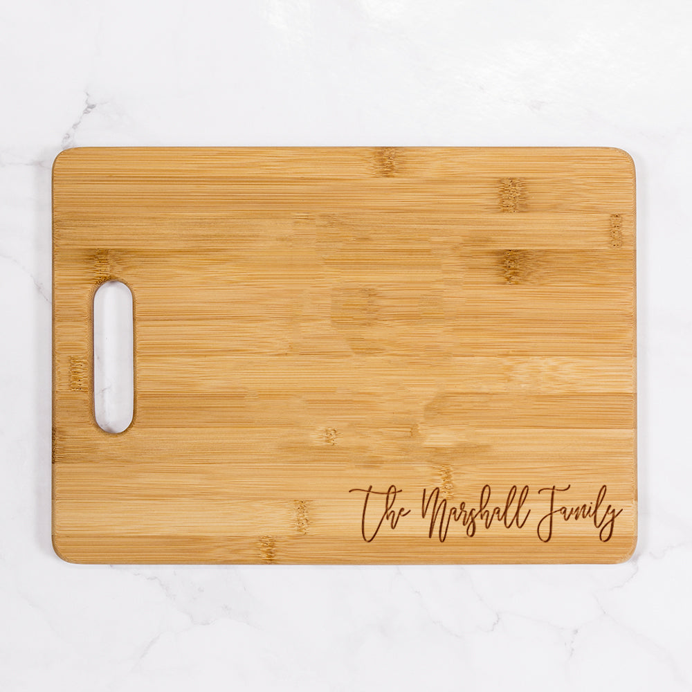 "Marshall - Personalized Bamboo Cutting Board with Handle 13.75"" x 9.75"""