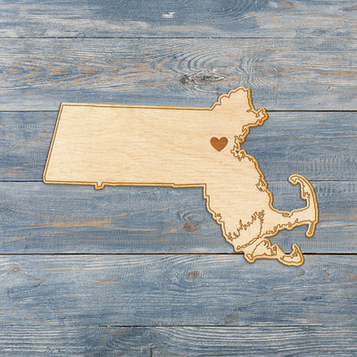 Massachusetts Cut Sign With Custom Engraved Heart Placement