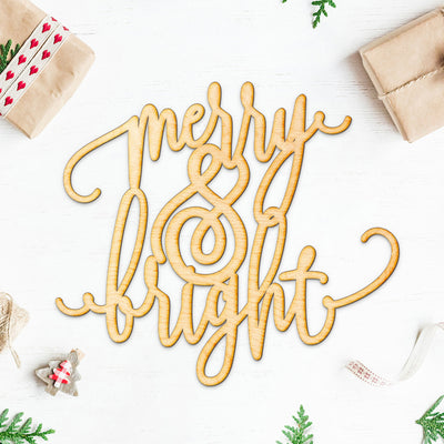 Merry & Bright Wood Cut Sign