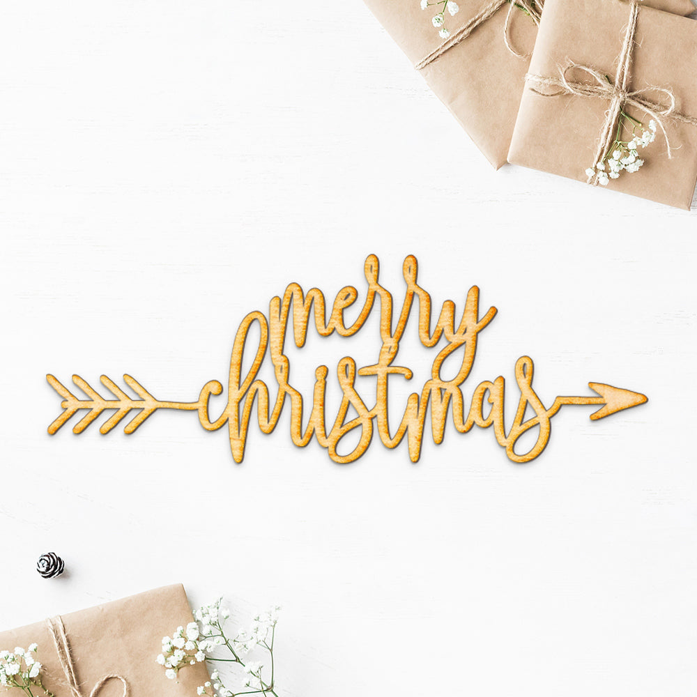 Merry Christmas Arrow Wood Cut Sign