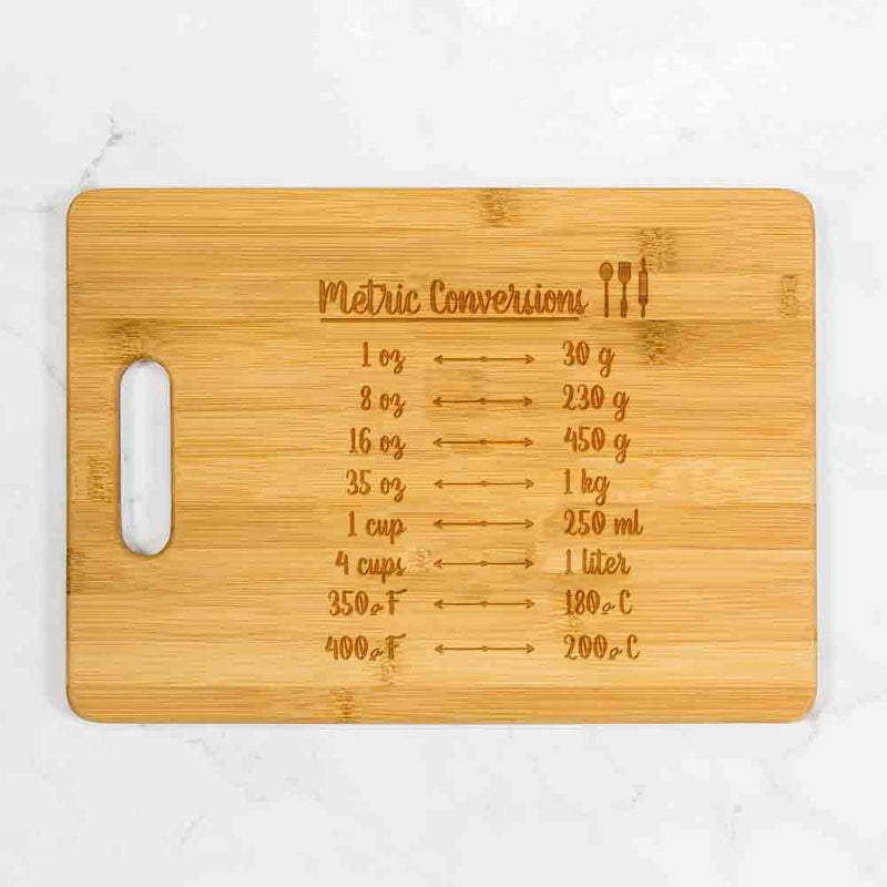 "Metric Conversion Cutting Board with Handle 13.75"" x 9.75"""