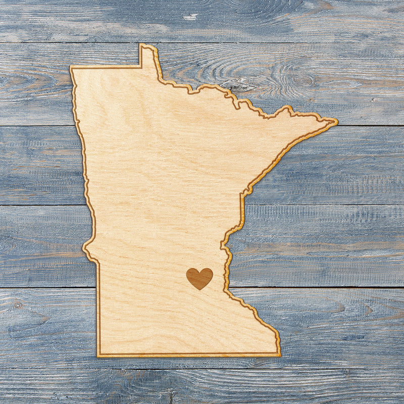 Minnesota Cut Sign With Custom Engraved Heart Placement
