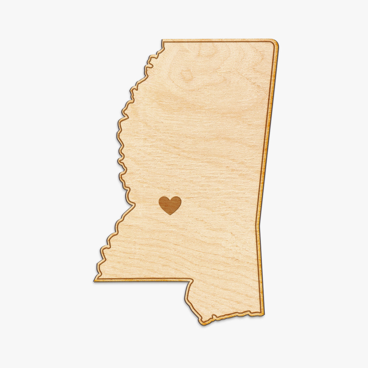 Mississippi Cut Sign With Custom Engraved Heart Placement