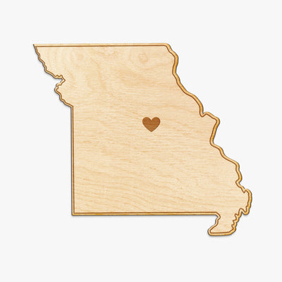Missouri Cut Sign With Custom Engraved Heart Placement
