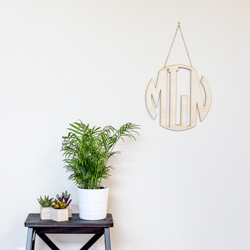 Monogram Circle Cut Wood Sign