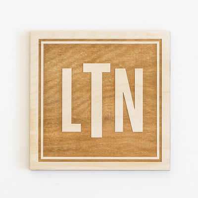 Rectangle Monogram Engraved Wood Sign