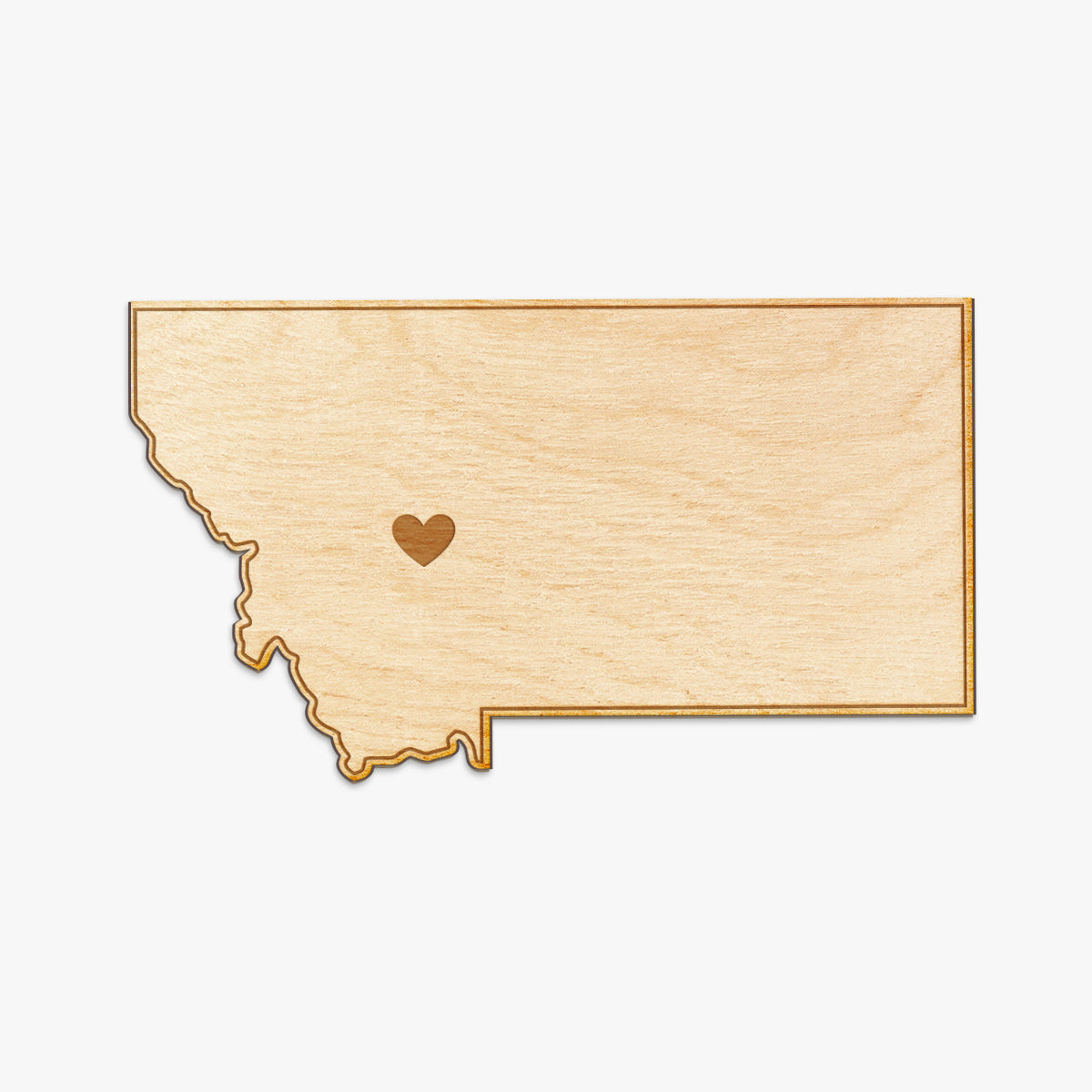 Montana Cut Sign With Custom Engraved Heart Placement